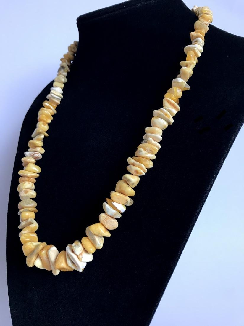 Authentic old necklace white Baltic amber chips 65cm - 7