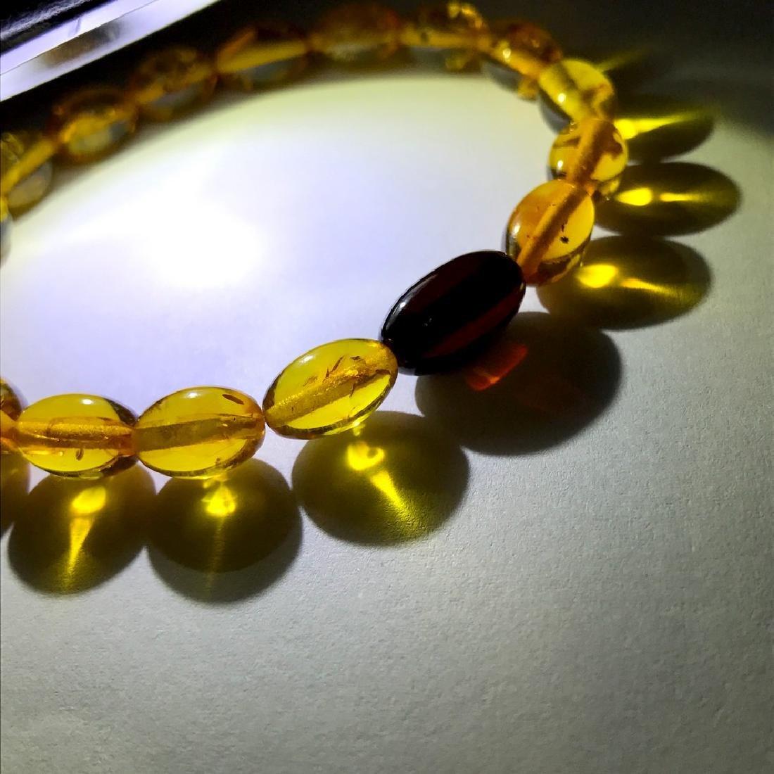 Bracelet Baltic amber olive beads honey&cherry colours - 2