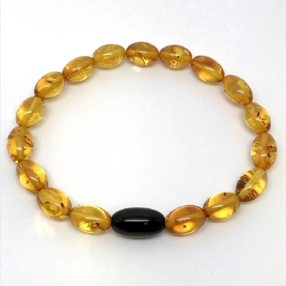 Bracelet Baltic amber olive beads honey&cherry colours - 3