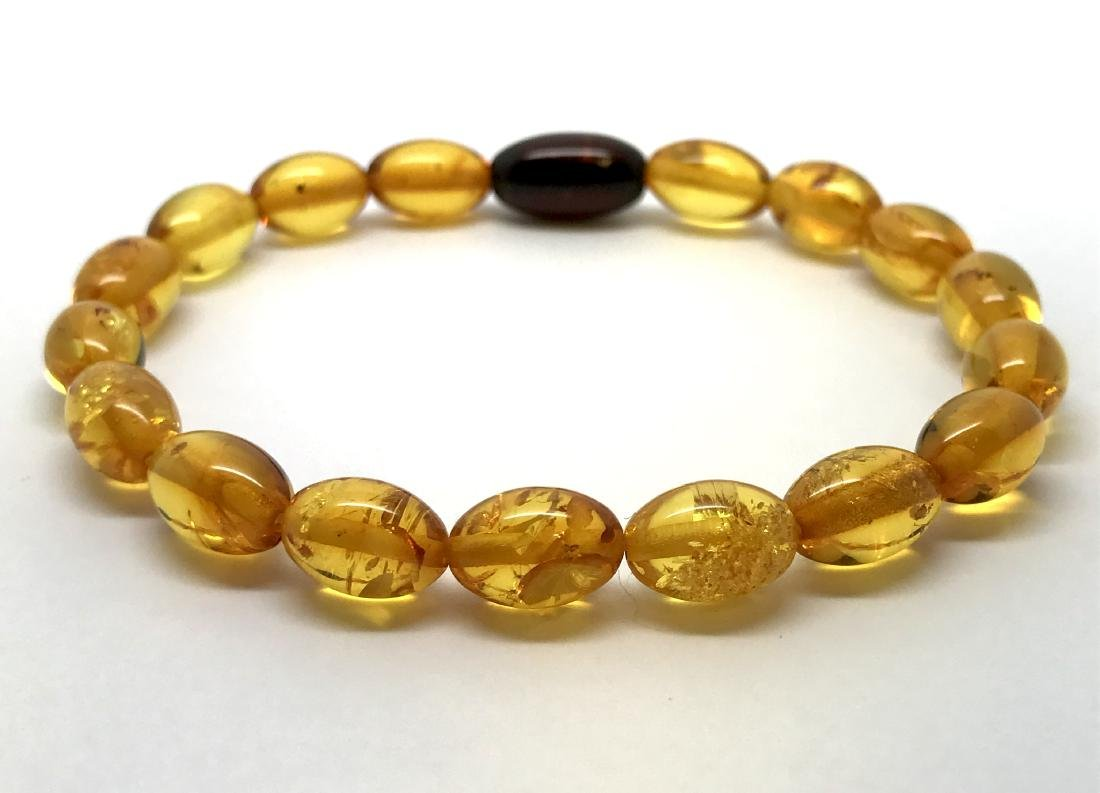 Bracelet Baltic amber olive beads honey&cherry colours - 4