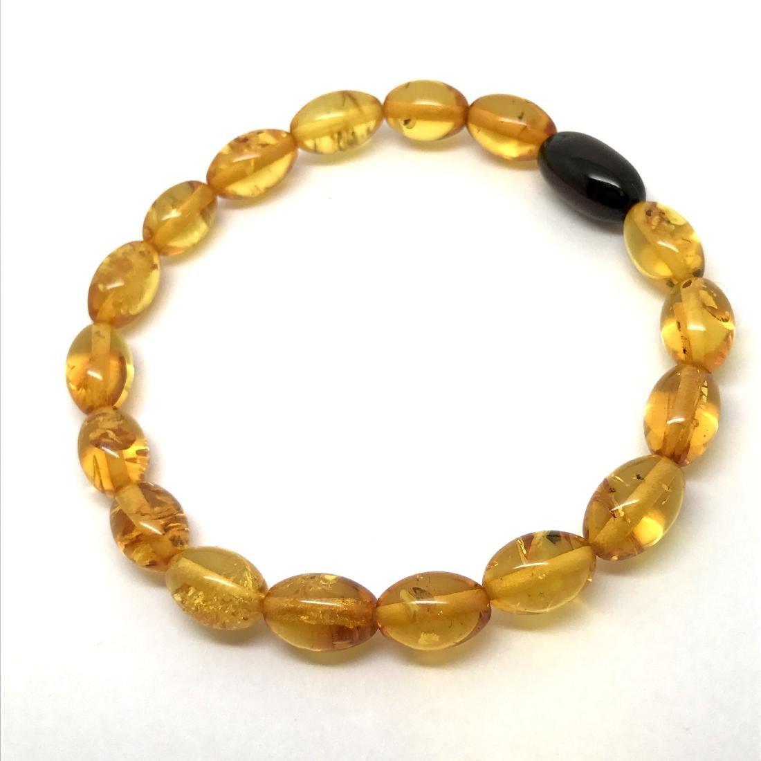 Bracelet Baltic amber olive beads honey&cherry colours - 5