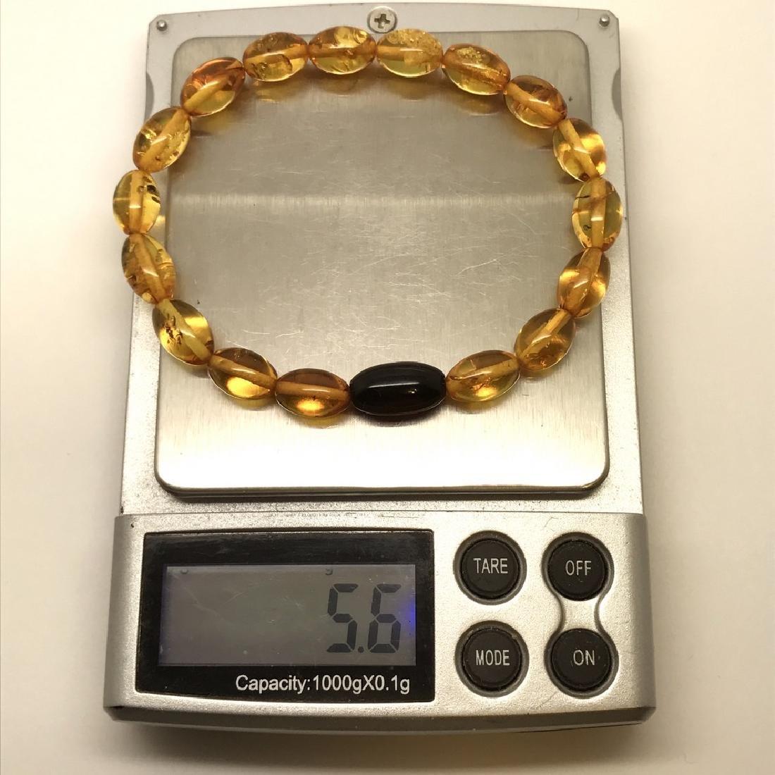 Bracelet Baltic amber olive beads honey&cherry colours - 9