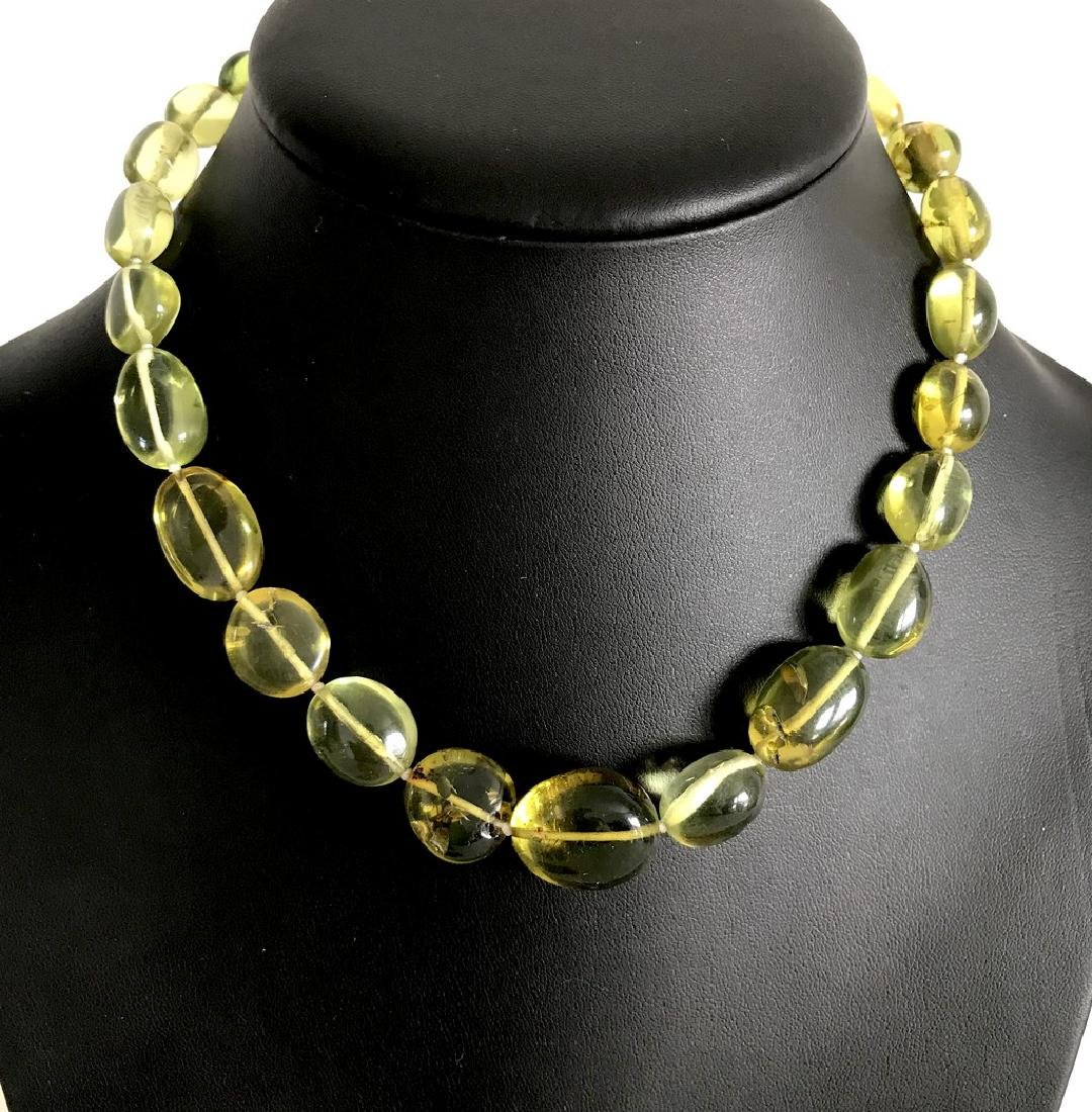 Vintage necklace green amber with antique insect