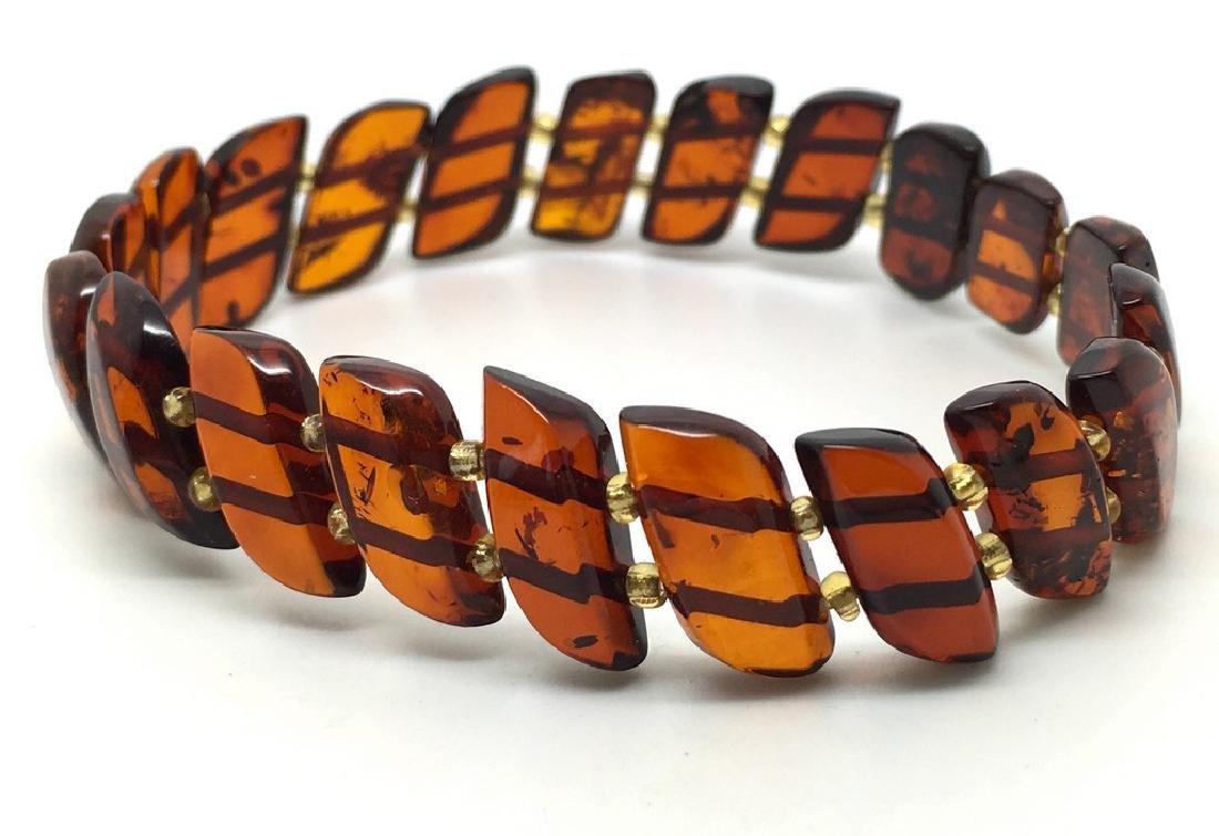 Braceleet hand carved Baltic amber slices cognac colour - 2