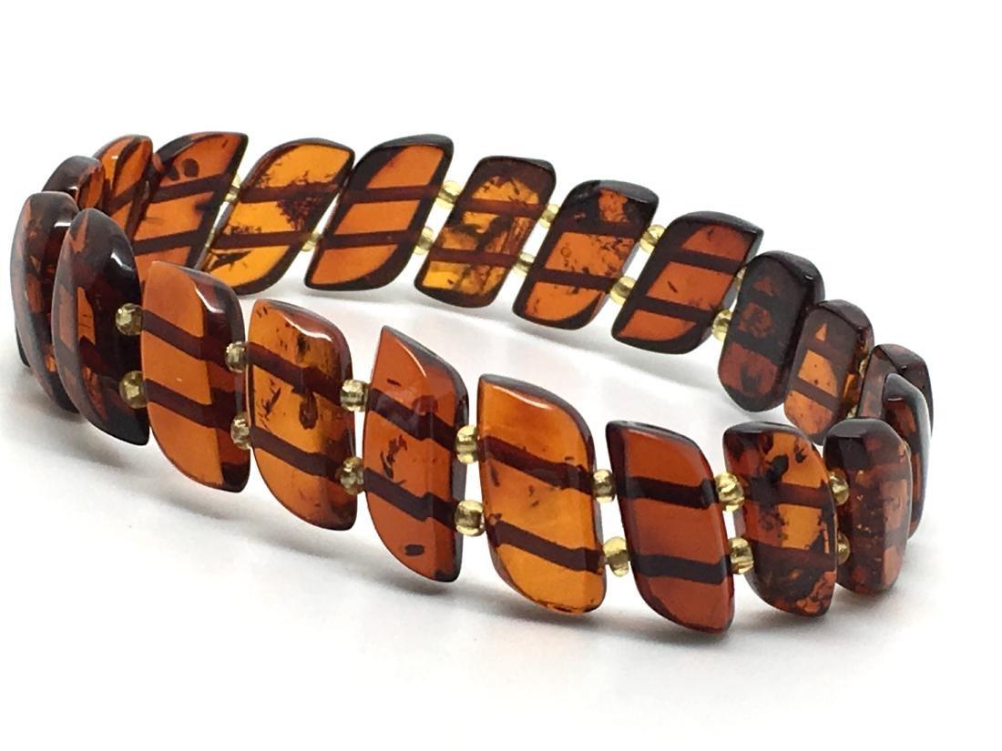 Braceleet hand carved Baltic amber slices cognac colour - 3