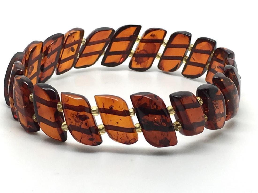 Braceleet hand carved Baltic amber slices cognac colour - 4