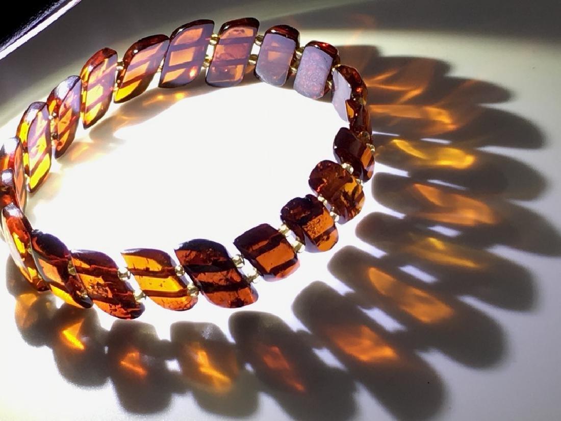 Braceleet hand carved Baltic amber slices cognac colour - 5
