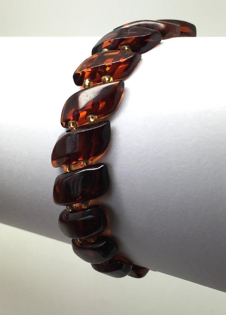 Braceleet hand carved Baltic amber slices cognac colour - 6