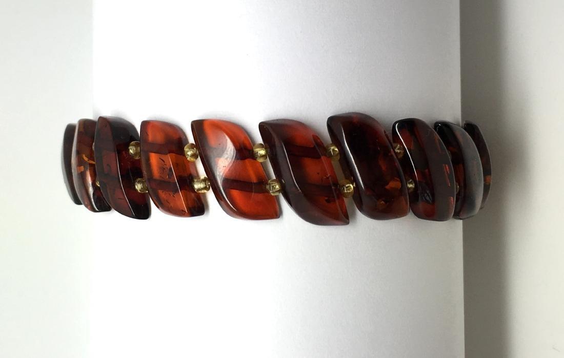 Braceleet hand carved Baltic amber slices cognac colour - 7