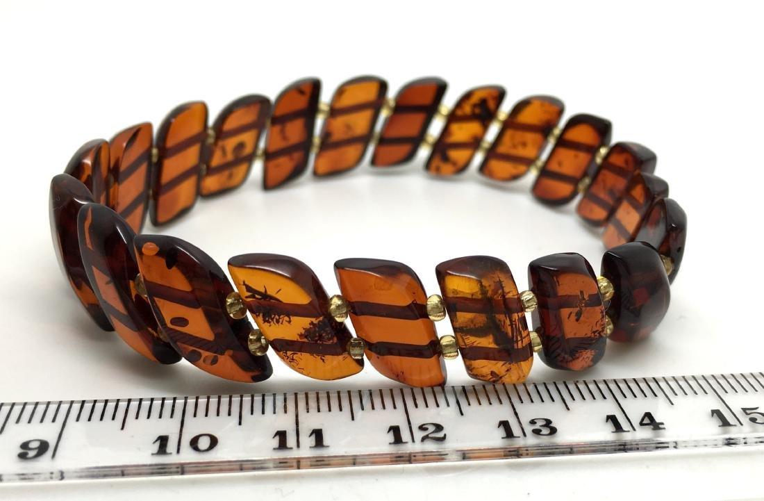 Braceleet hand carved Baltic amber slices cognac colour - 9