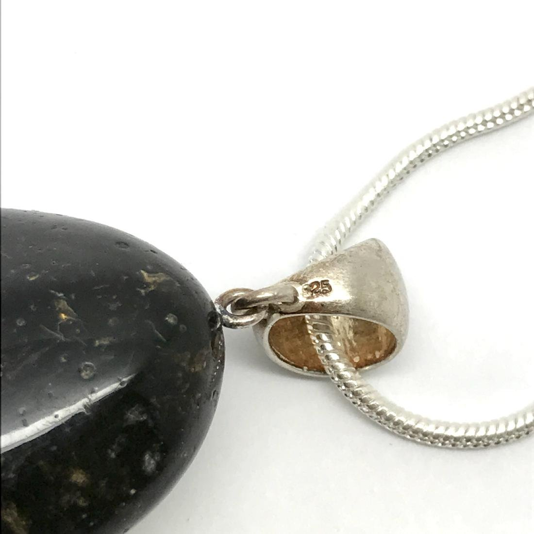 Vintage pendant amulet Baltic amber silver and chain - 3