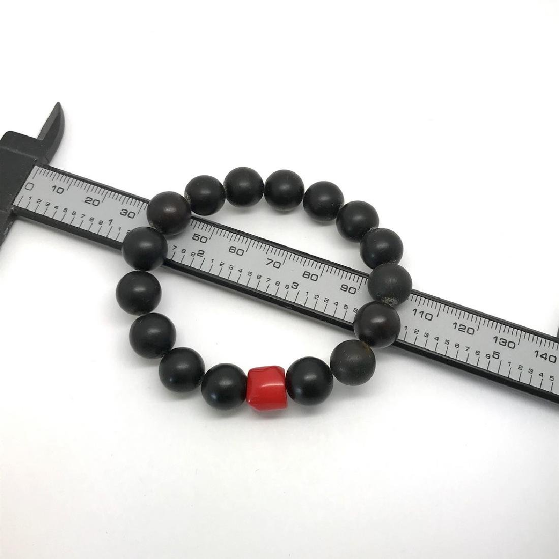 Bracelet Baltic amber Coral black&red ø10mm 13.4 grams - 4
