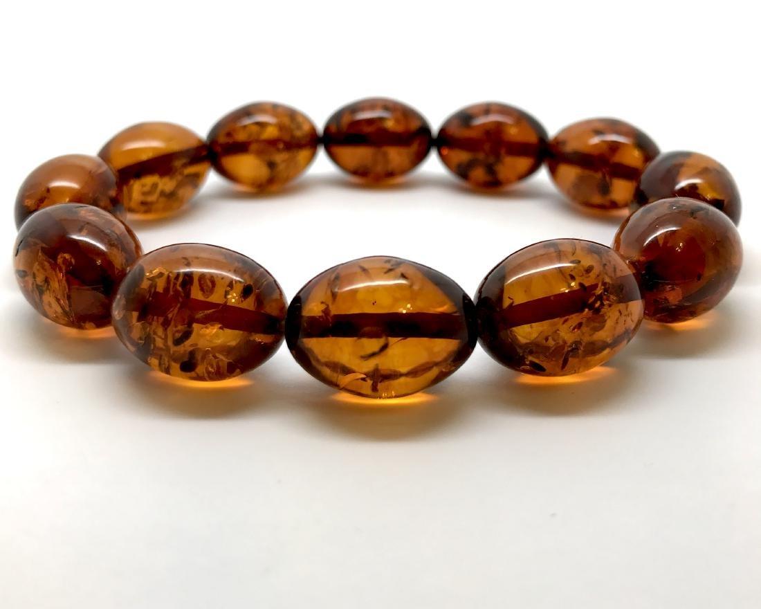 Bracelet Baltic amber cognac olive shape 17 gr