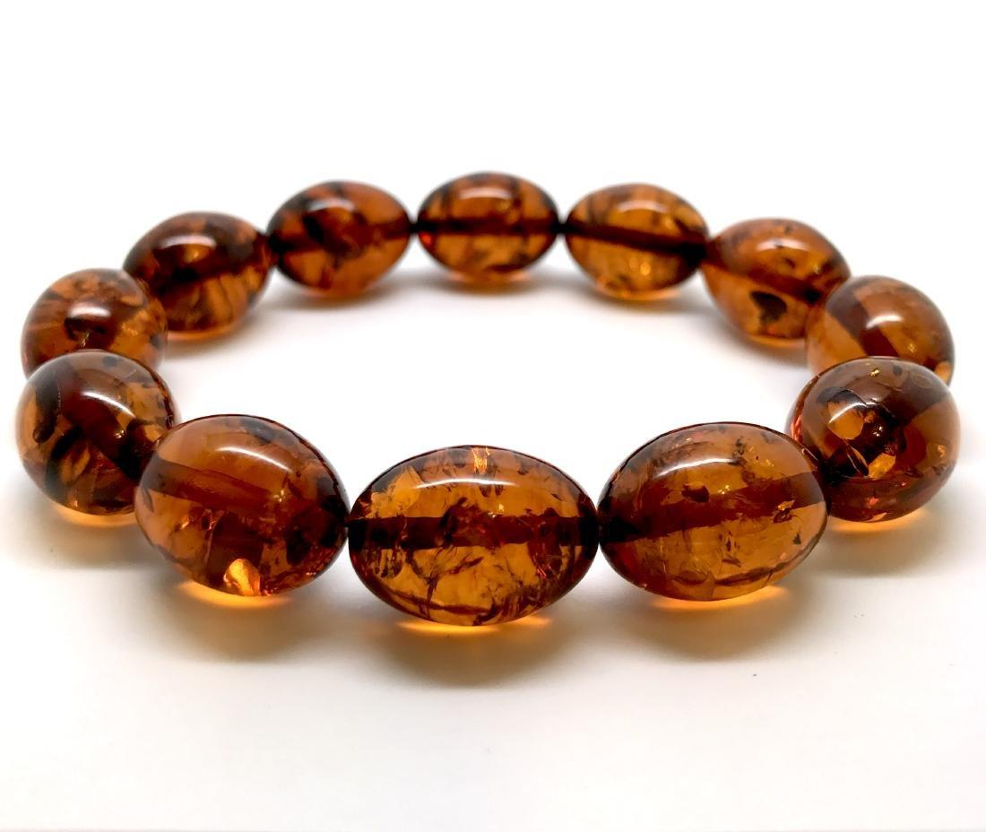 Bracelet Baltic amber cognac olive shape 17 gr - 2