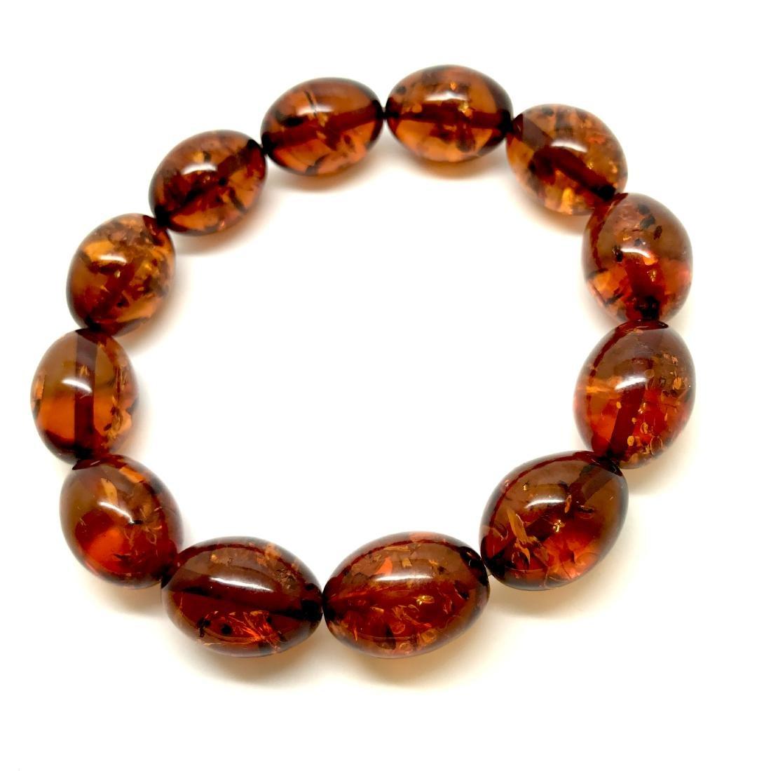 Bracelet Baltic amber cognac olive shape 17 gr - 3