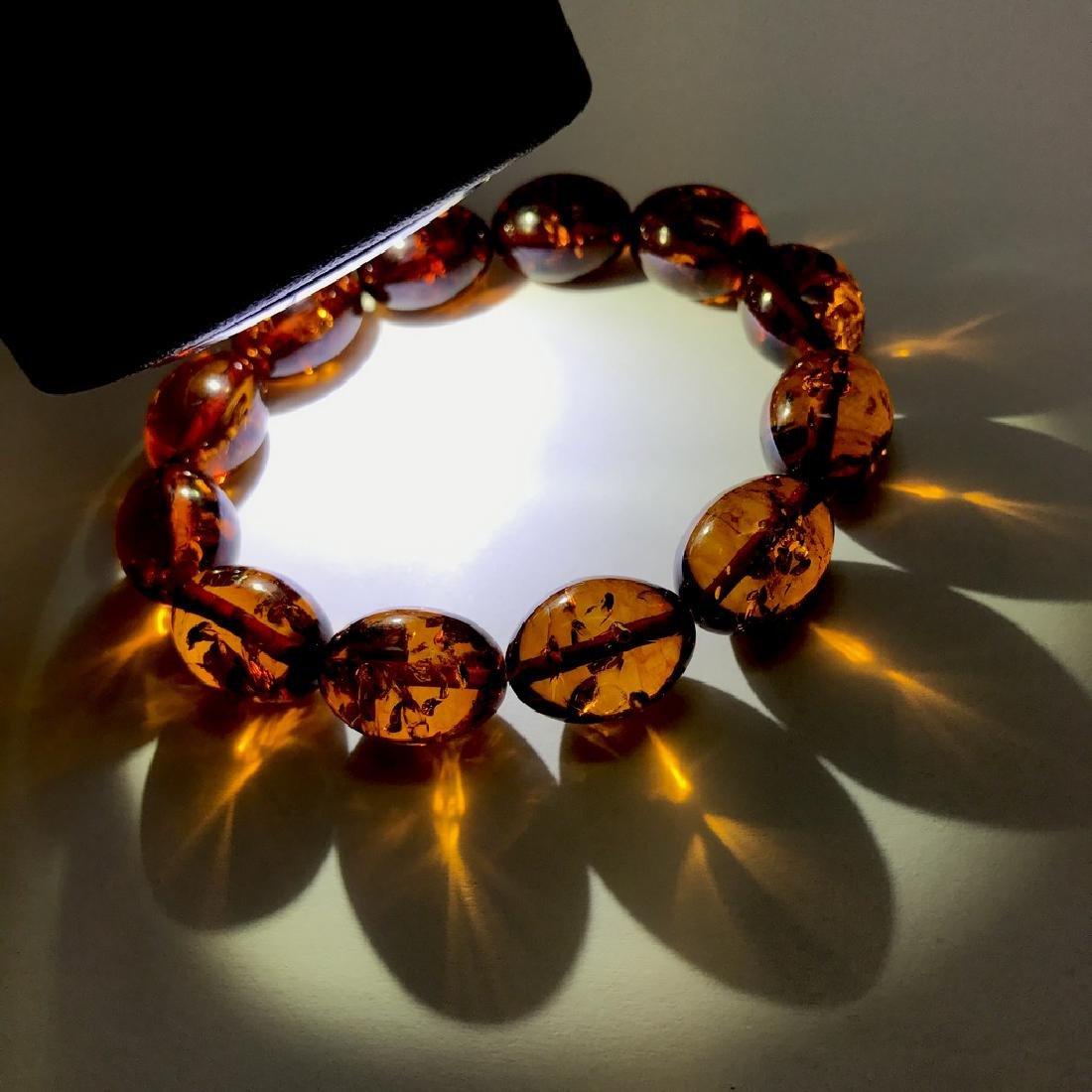 Bracelet Baltic amber cognac olive shape 17 gr - 4