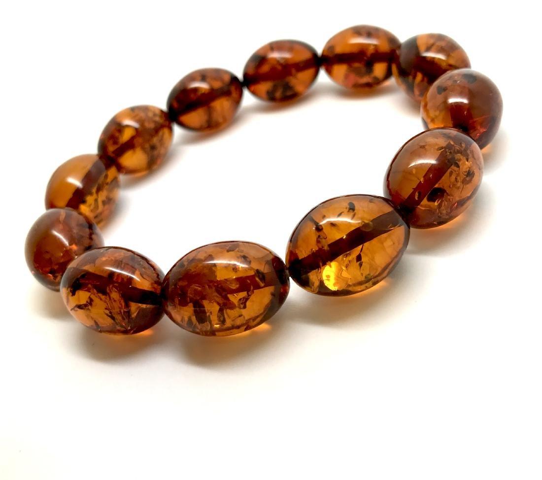 Bracelet Baltic amber cognac olive shape 17 gr - 6