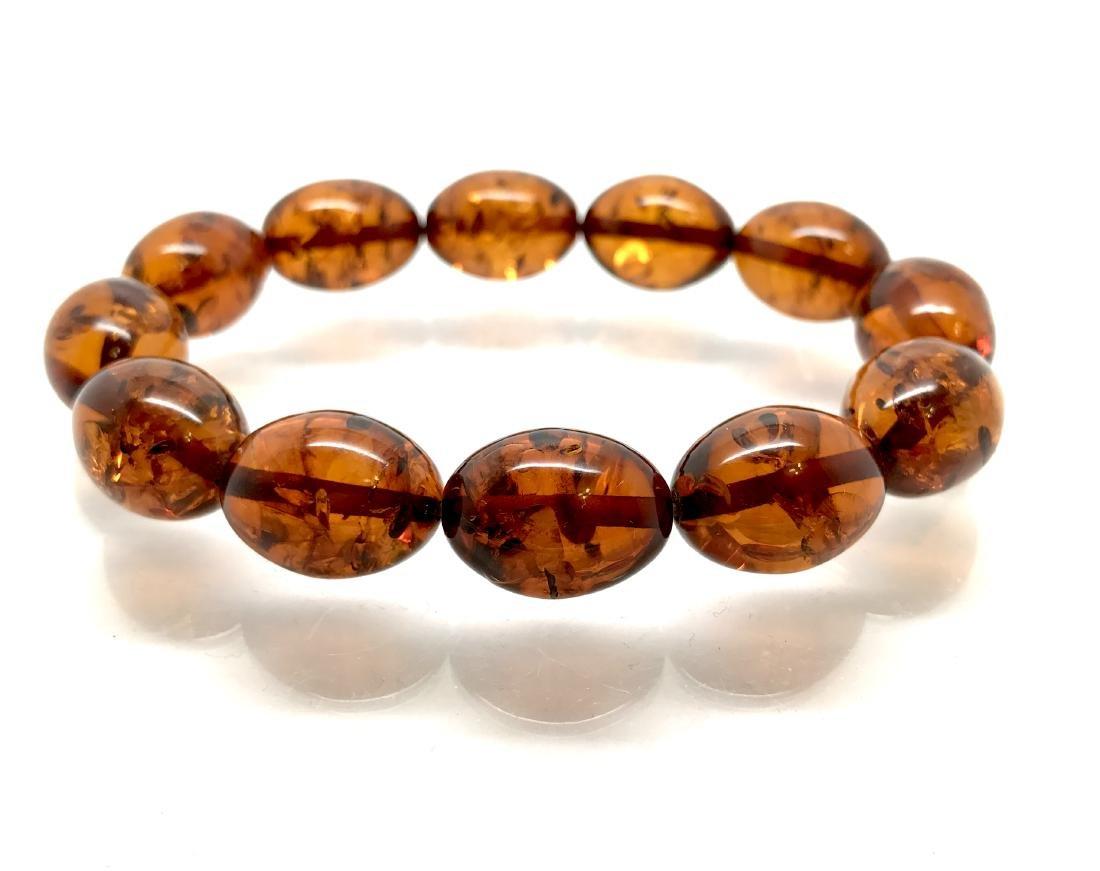 Bracelet Baltic amber cognac olive shape 17 gr - 7