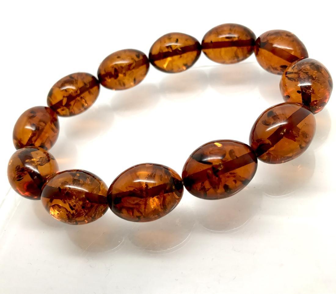 Bracelet Baltic amber cognac olive shape 17 gr - 8