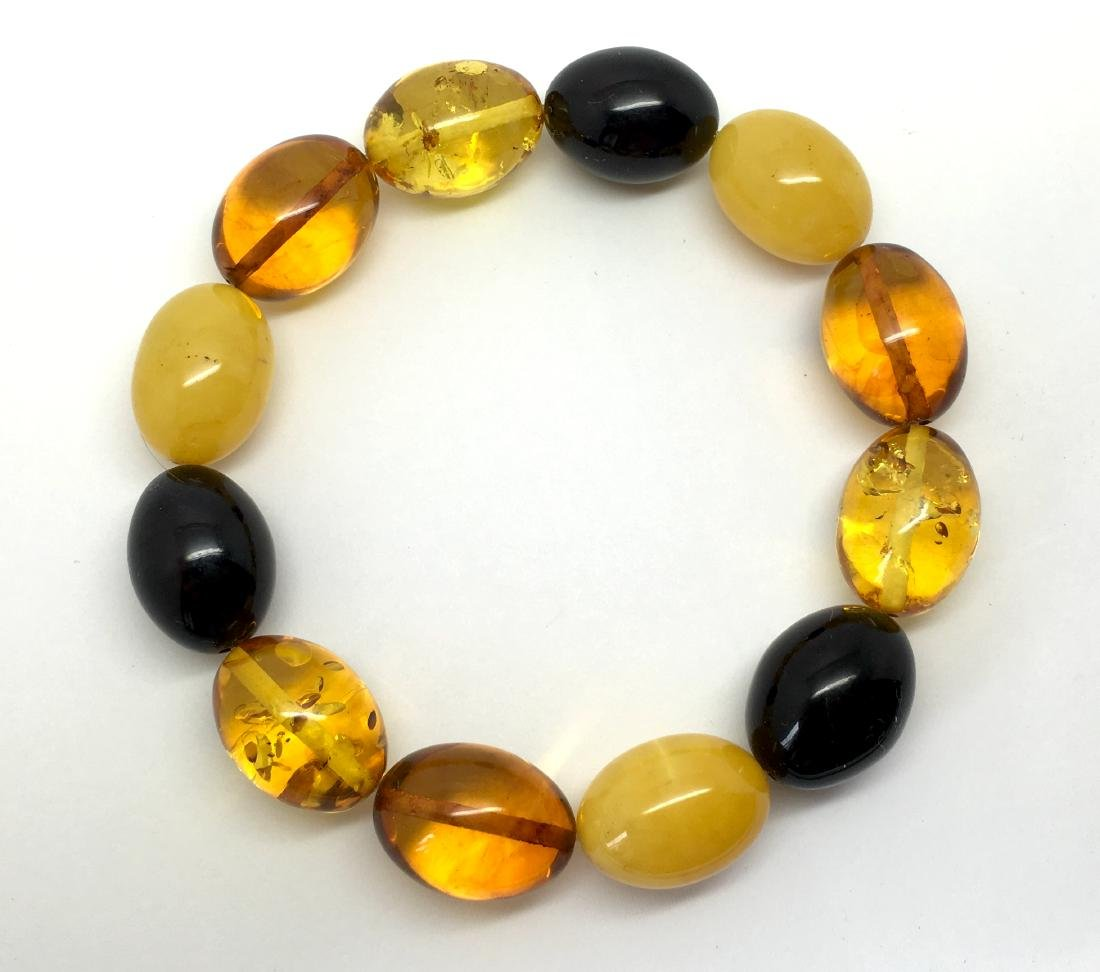 Bracelet Baltic amber multi color olive shape 26.1 gr - 10