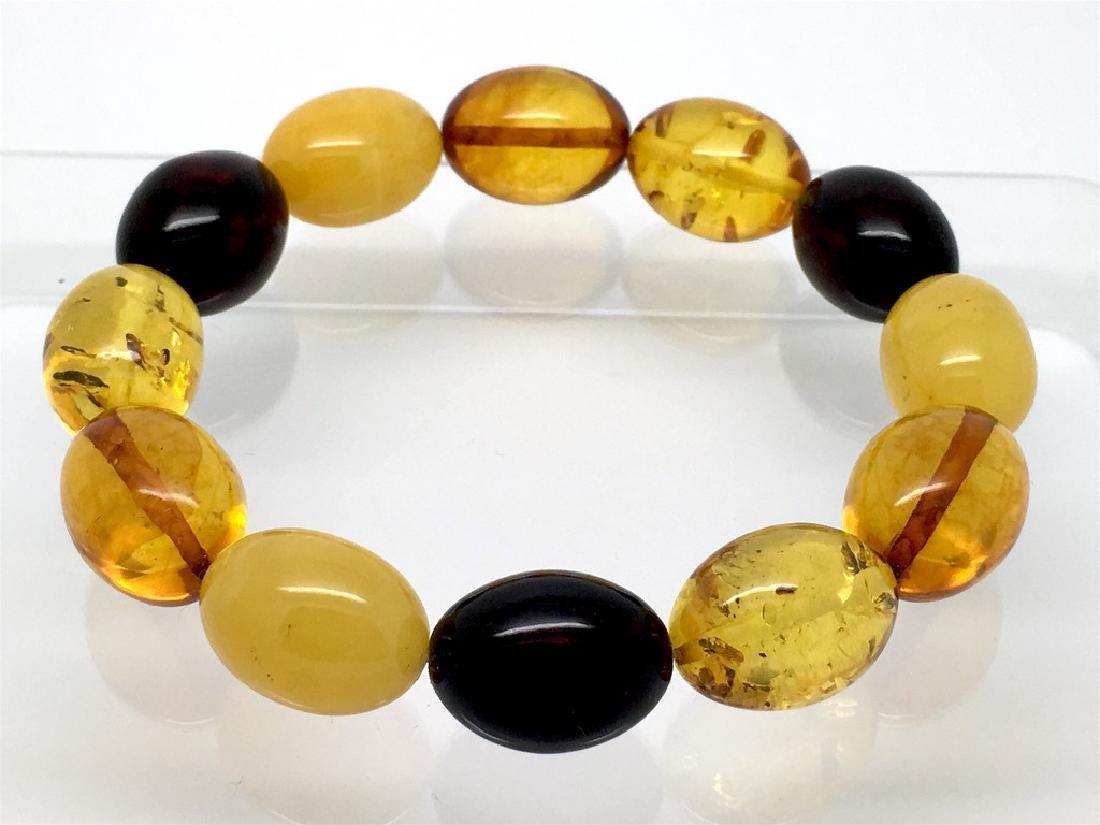 Bracelet Baltic amber multi color olive shape 26.1 gr
