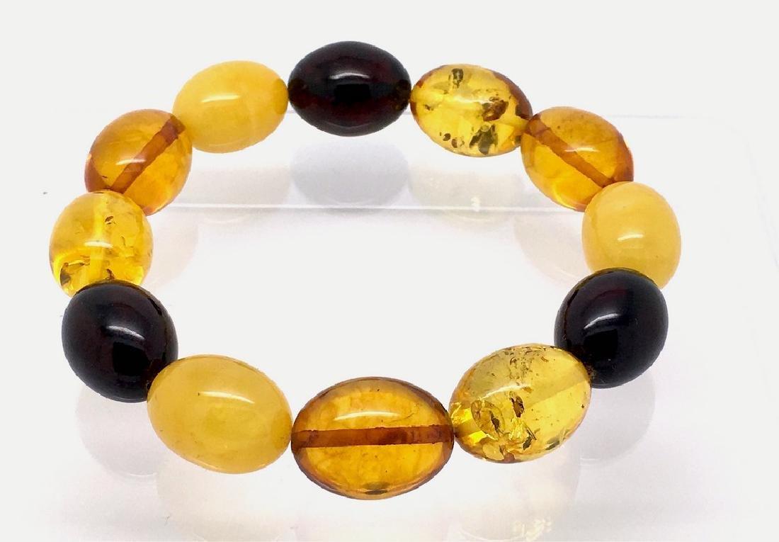 Bracelet Baltic amber multi color olive shape 26.1 gr - 2