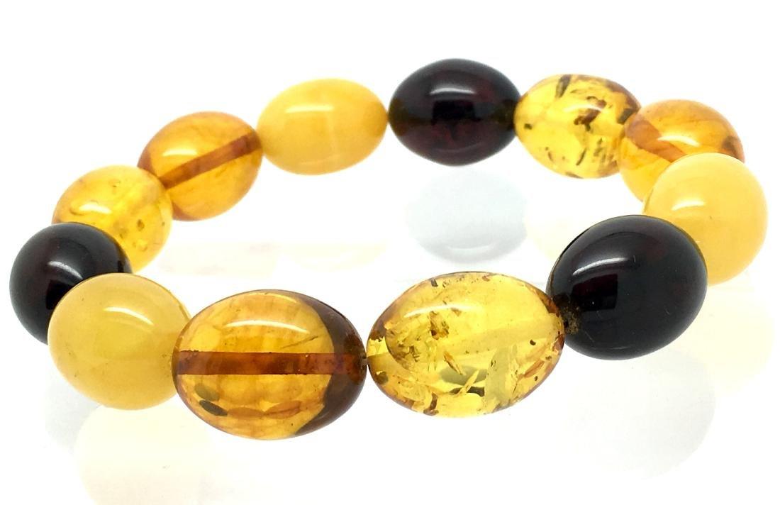 Bracelet Baltic amber multi color olive shape 26.1 gr - 3