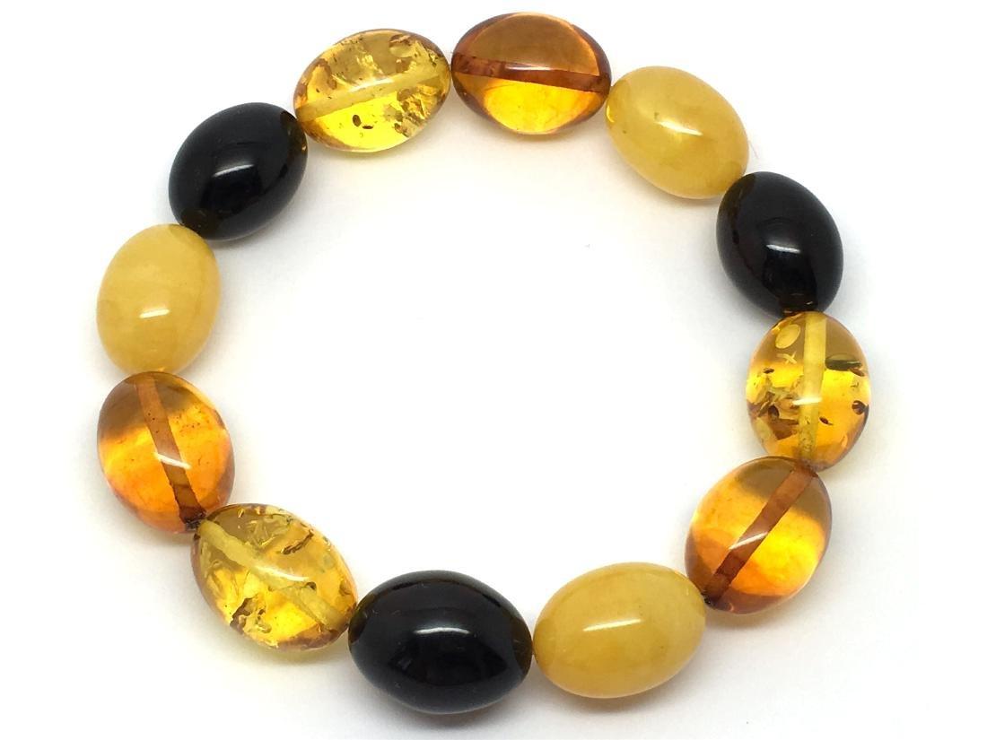 Bracelet Baltic amber multi color olive shape 26.1 gr - 4