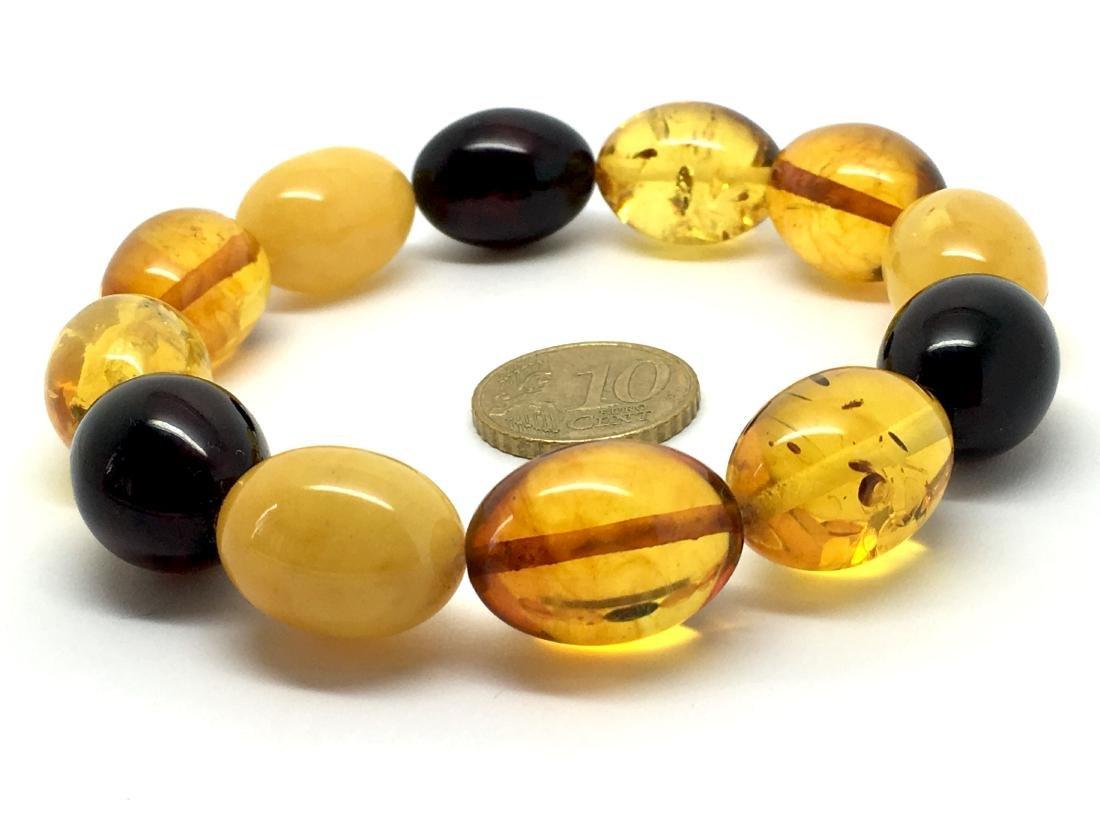 Bracelet Baltic amber multi color olive shape 26.1 gr - 5