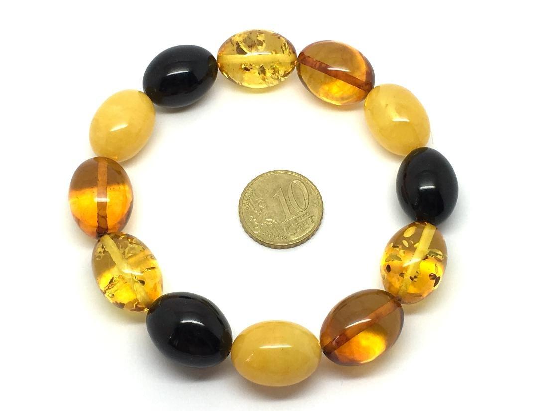 Bracelet Baltic amber multi color olive shape 26.1 gr - 6