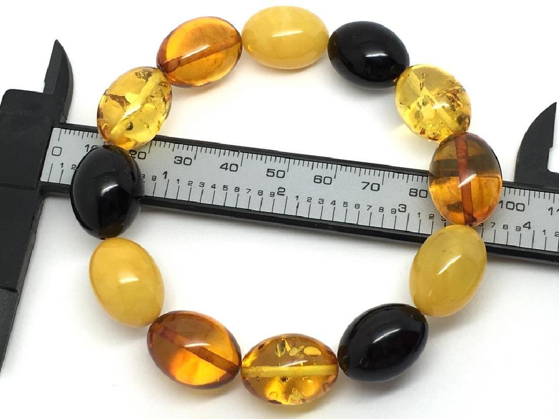 Bracelet Baltic amber multi color olive shape 26.1 gr - 7