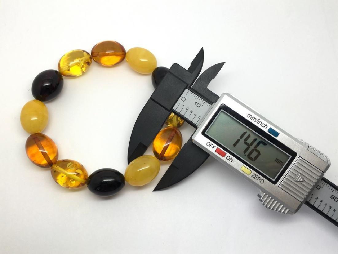 Bracelet Baltic amber multi color olive shape 26.1 gr - 8