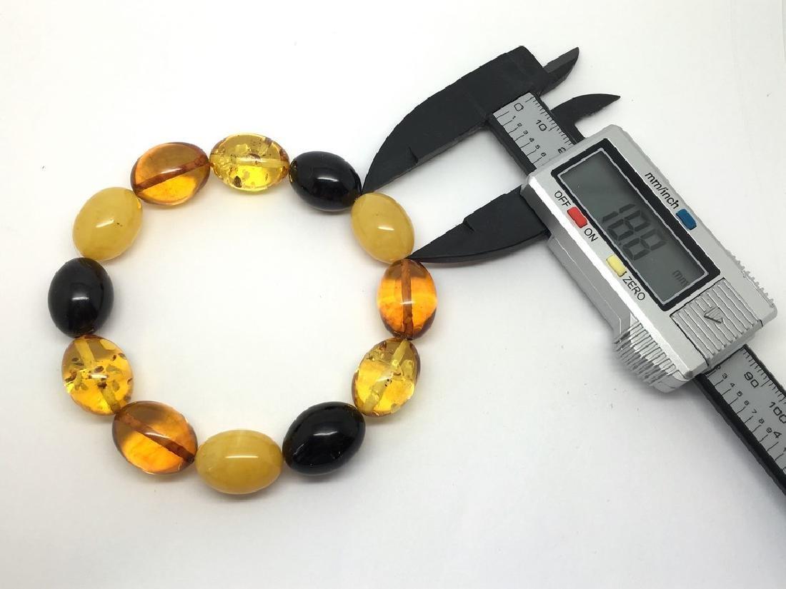 Bracelet Baltic amber multi color olive shape 26.1 gr - 9