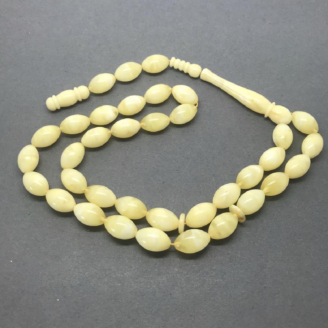 Misbaha tesbih Baltic amber white 33 beads 16x11mm 39.3