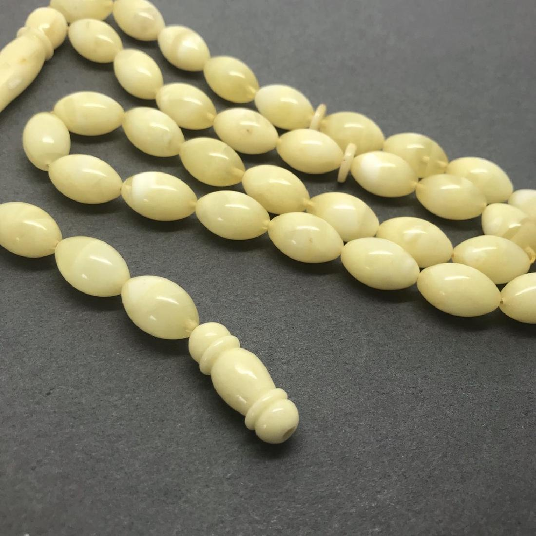Misbaha tesbih Baltic amber white 33 beads 16x11mm 39.3 - 3