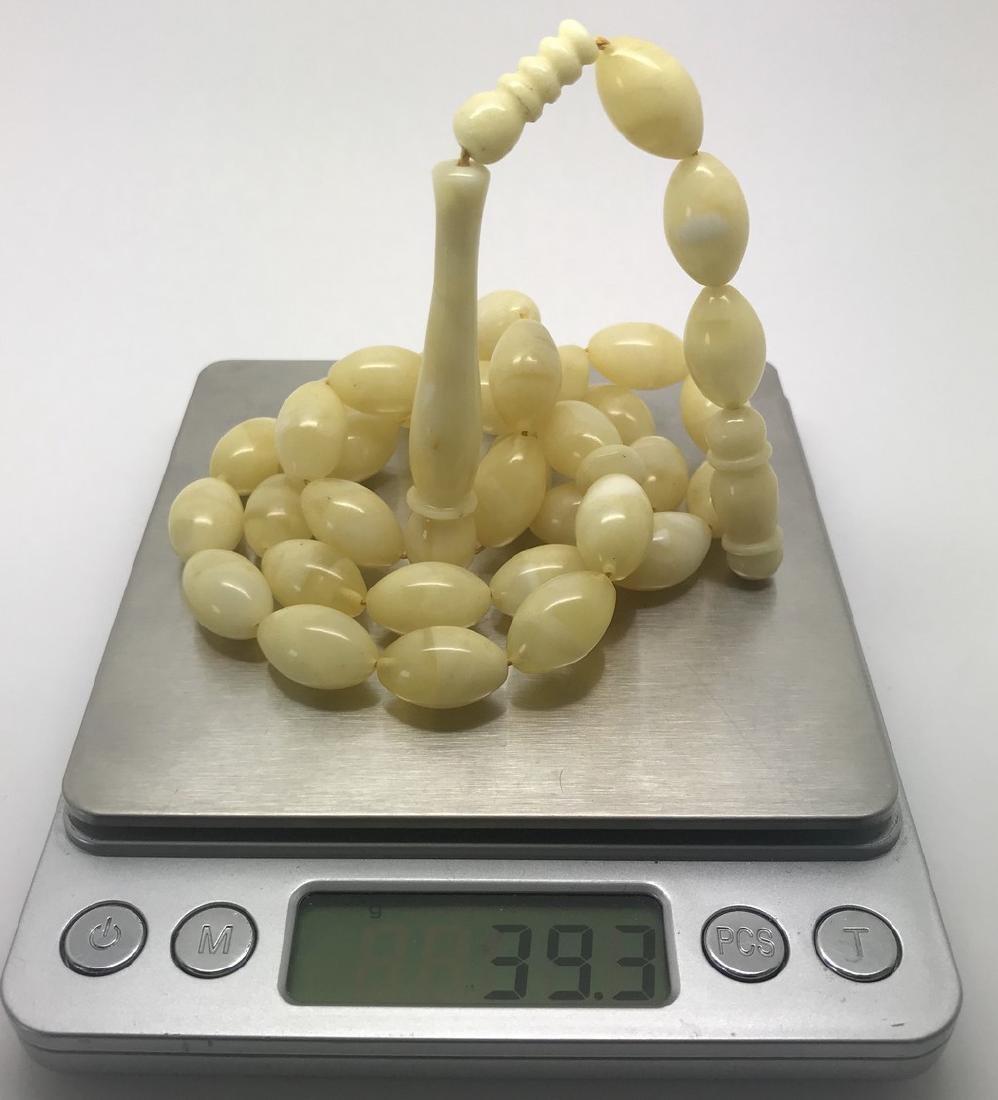 Misbaha tesbih Baltic amber white 33 beads 16x11mm 39.3 - 8