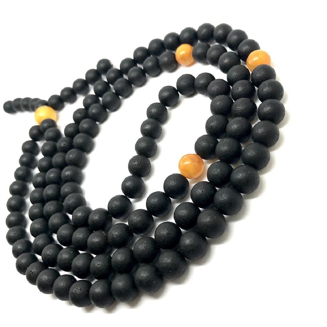 Japa mala luck necklace old Baltic amber beads - 2