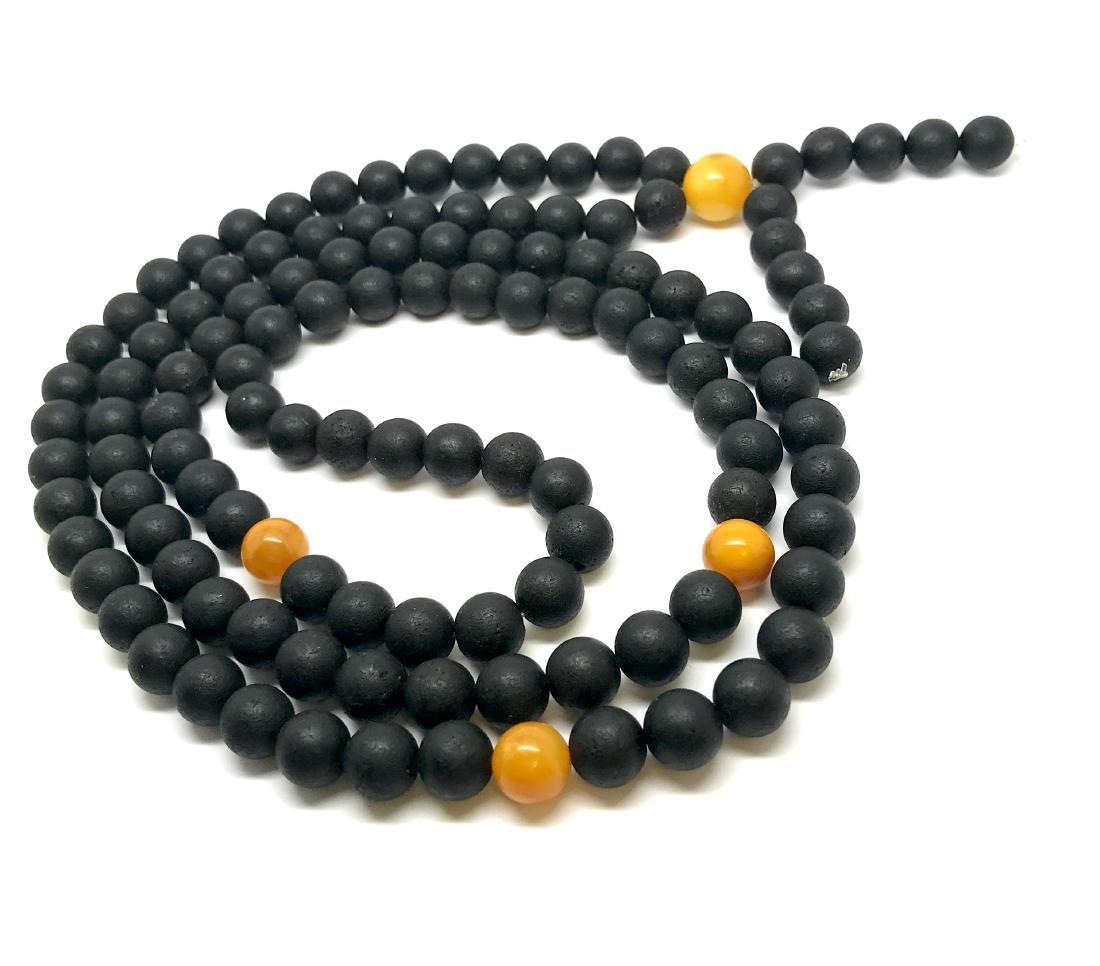 Japa mala luck necklace old Baltic amber beads - 3