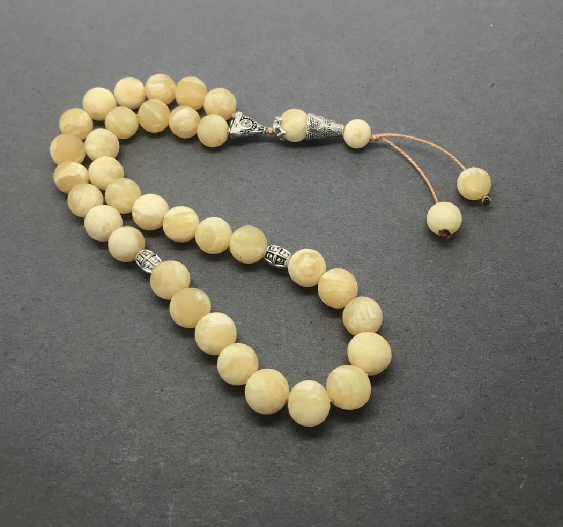Misbaha tesbih Baltic amber white 33 beads ø10mm 24