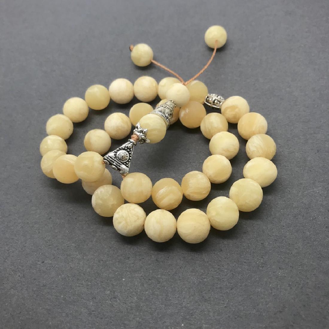 Misbaha tesbih Baltic amber white 33 beads ø10mm 24 - 3