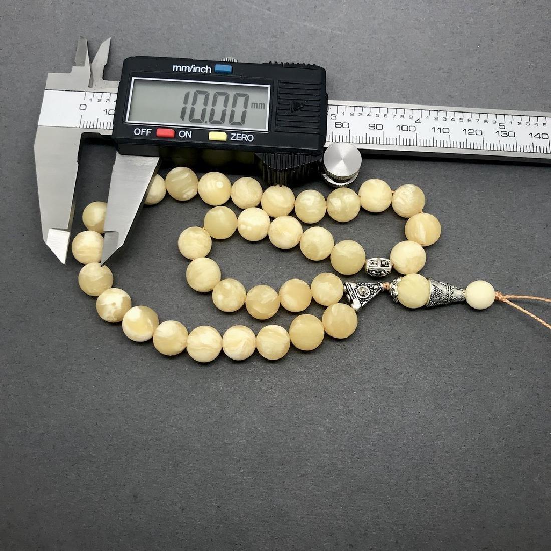 Misbaha tesbih Baltic amber white 33 beads ø10mm 24 - 5