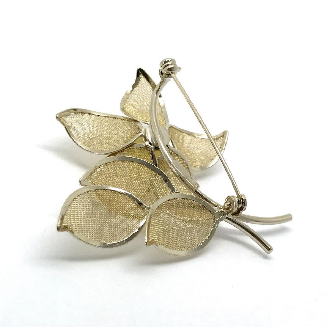 Vintage style gold-plated brooch 57x56mm with Baltic - 5