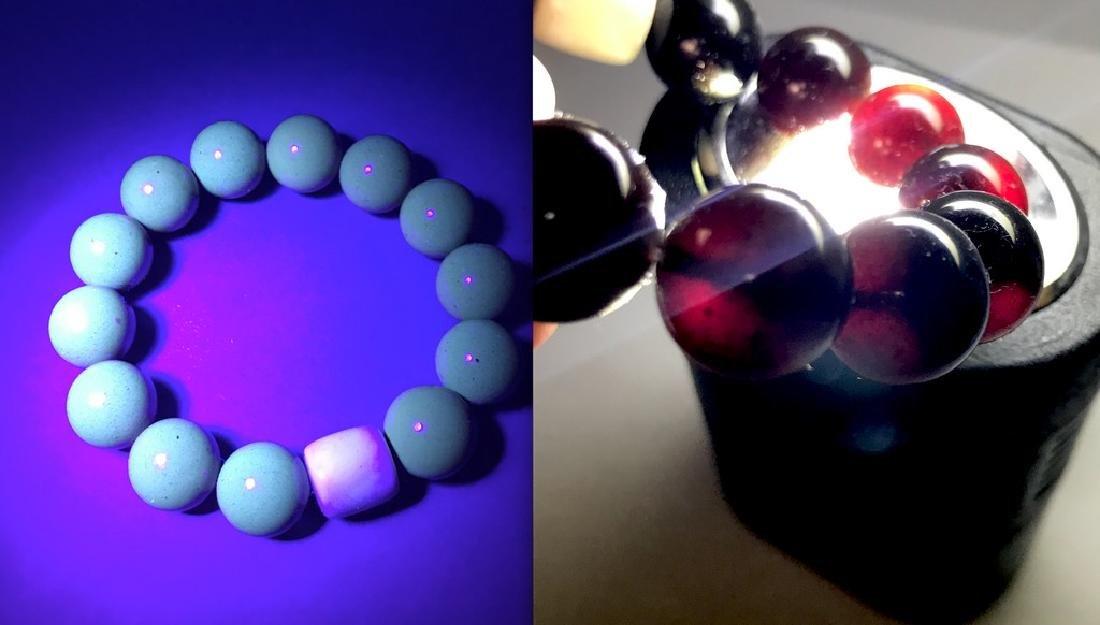 Bracelet Baltic amber cherry beads ø14mm & white barrel
