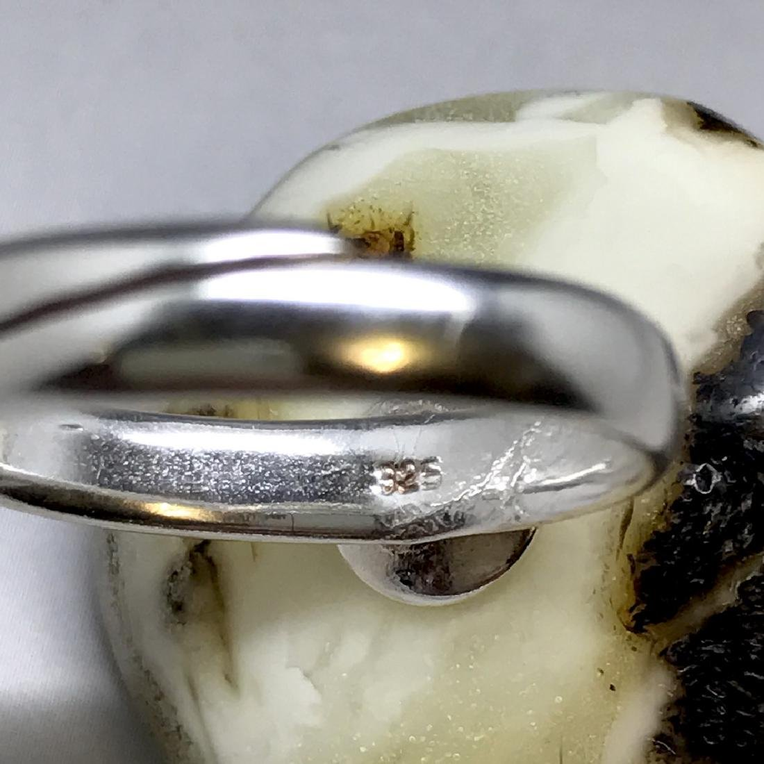 Vintage silver ring large Baltic amber rare colour - 5