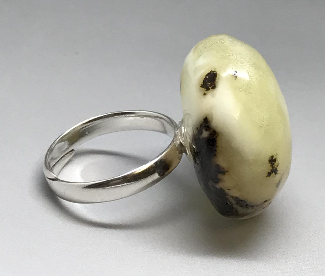 Vintage silver ring large Baltic amber rare colour - 7