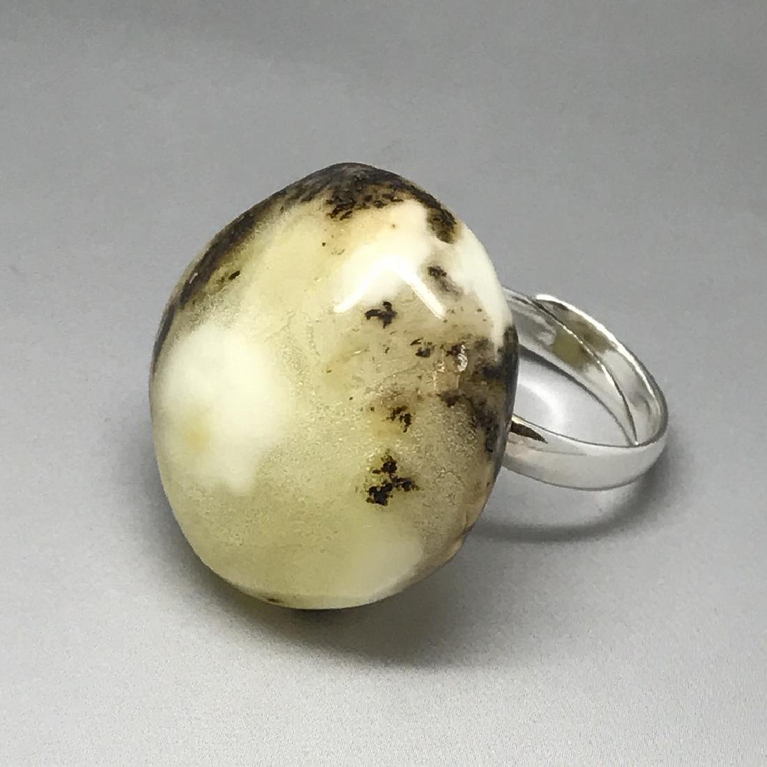 Vintage silver ring large Baltic amber rare colour - 8
