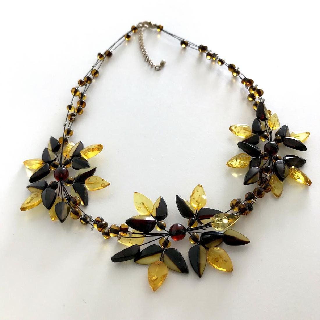 Carved Baltic Amber silver collar wide necklace