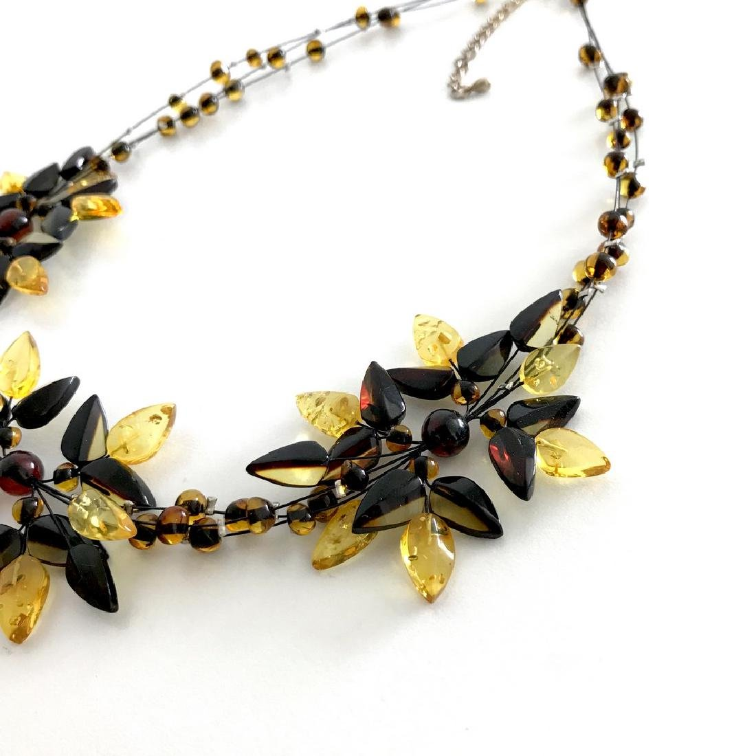 Carved Baltic Amber silver collar wide necklace - 2