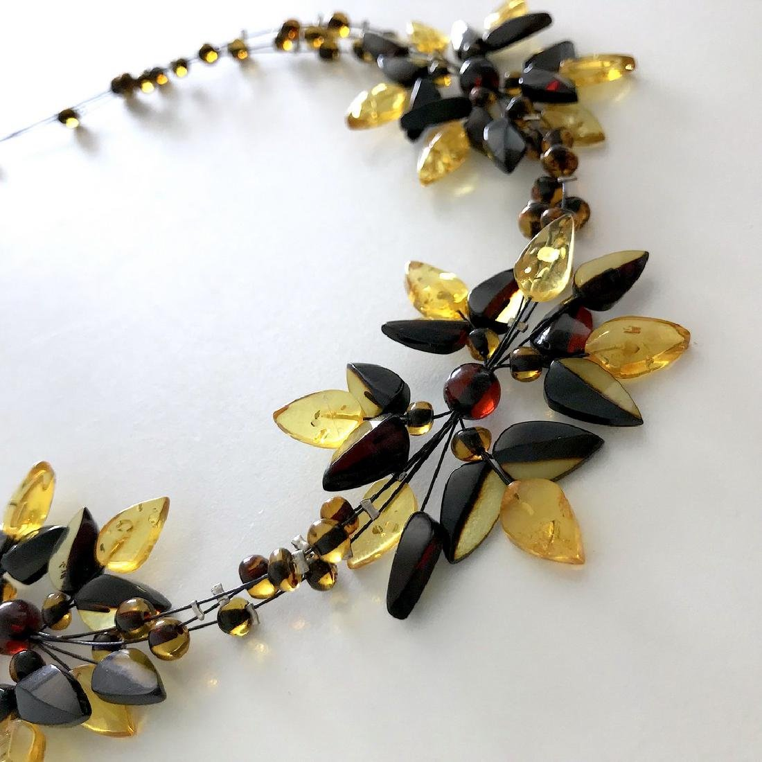 Carved Baltic Amber silver collar wide necklace - 3