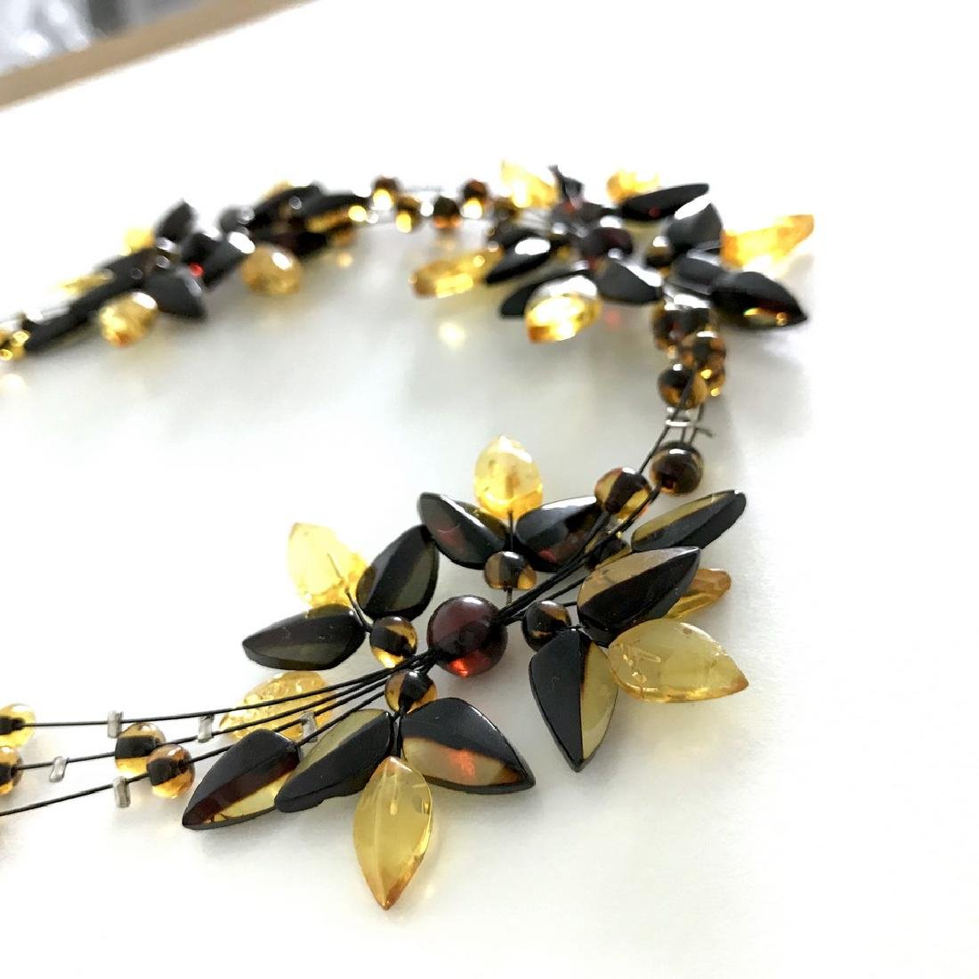 Carved Baltic Amber silver collar wide necklace - 4